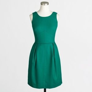 J Crew Pleated Wool Shift Dress with Pockets